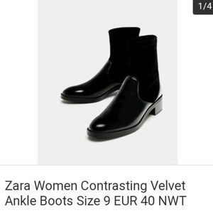 Zara woman's shoes contrasting velvet ankle boots